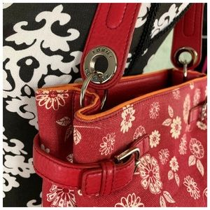 "Red Flower Power TH Hand Bag 9""X10"" EUC"